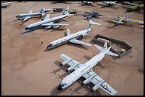 Aerial view of retired aircraft, Pima Air and space museum. Tucson, Arizona, USA ( color)
