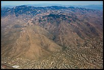 Aerial view of Tucson outskirts and Rincon Mountains. Tucson, Arizona, USA ( color)