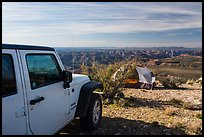 Jeep and tent on Canyon Rim, Twin Point. Parashant National Monument, Arizona, USA ( color)