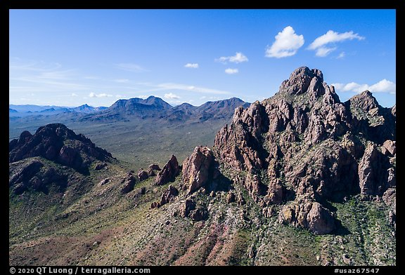 Aerial view of Wolcott Peak, and Ragged Top with distant Silver Bell Mountains. Ironwood Forest National Monument, Arizona, USA (color)