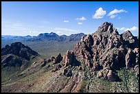 Aerial view of Wolcott Peak, and Ragged Top with distant Silver Bell Mountains. Ironwood Forest National Monument, Arizona, USA ( color)