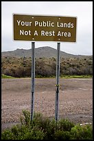 Public Lands not a rest area sign. Agua Fria National Monument, Arizona, USA ( color)
