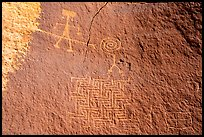 Petroglyph depicting person wearing earrings with ladder-like insect and maze. Vermilion Cliffs National Monument, Arizona, USA ( color)