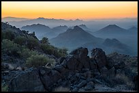 Pan Quemado peaks from Waterman Mountains at dawn. Ironwood Forest National Monument, Arizona, USA ( color)