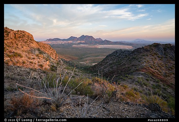Silver Bell Mountains and mine at sunrise. Ironwood Forest National Monument, Arizona, USA (color)