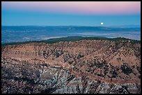 Full moon setting over Hells Hole. Parashant National Monument, Arizona, USA ( )