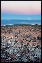 Hells Hole with full moon setting. Grand Canyon-Parashant National Monument, Arizona, USA ( color)