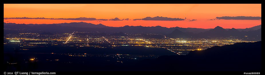 Tucson lights at sunset from Rincon Mountains. Tucson, Arizona, USA (color)