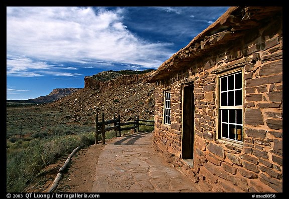 West Cabin and Vermillion Cliffs. Pipe Spring National Monument, Arizona, USA