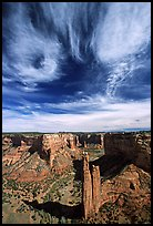 Spider Rock and skies. Canyon de Chelly  National Monument, Arizona, USA ( color)