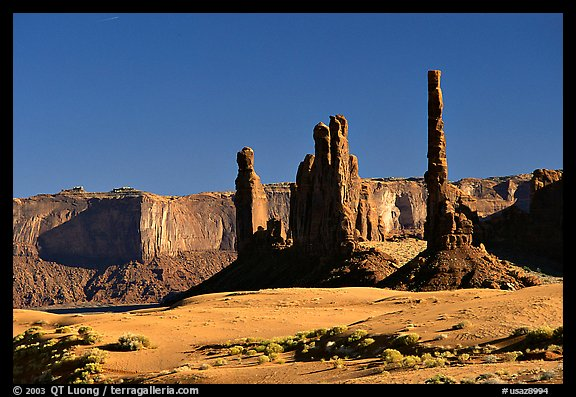 Yei bi Chei and Totem Pole, afternoon. Monument Valley Tribal Park, Navajo Nation, Arizona and Utah, USA (color)