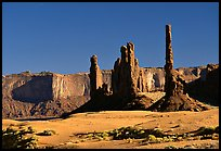Yei bi Chei and Totem Pole, afternoon. Monument Valley Tribal Park, Navajo Nation, Arizona and Utah, USA ( color)