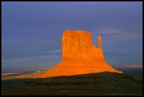 Mitten at sunset. Monument Valley Tribal Park, Navajo Nation, Arizona and Utah, USA ( color)