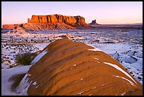Snowy sunrise. Monument Valley Tribal Park, Navajo Nation, Arizona and Utah, USA ( color)