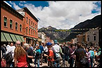 Crowds on main street during Mountain film festival. Telluride, Colorado, USA (color)