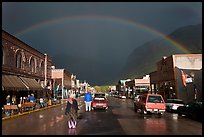 Main street with rainbow. Telluride, Colorado, USA (color)