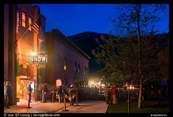 Sheridan opera house entrance by night. Telluride, Colorado, USA