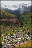 Town, waterfall, and snowy mountains in spring. Telluride, Colorado, USA
