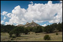 Meadows, rocks, and clouds. Chimney Rock National Monument, Colorado, USA ( color)