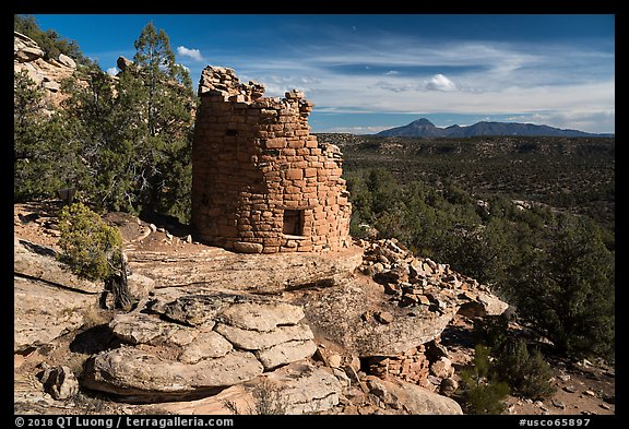 Painted Hand Pueblo tower and landscape. Canyon of the Ancients National Monument, Colorado, USA (color)