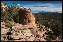 Painted Hand Pueblo tower and landscape. Canyon of the Anciens National Monument, Colorado, USA ( color)