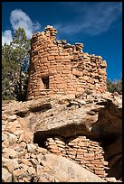 Tower on rock outcropping. Canyon of the Anciens National Monument, Colorado, USA ( color)