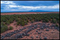Aerial view of flats and Ute Mountain, evening. Canyon of the Anciens National Monument, Colorado, USA ( color)