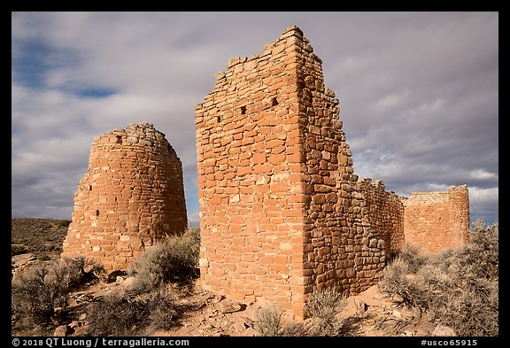 Hovenweep Castle with tower. Hovenweep National Monument, Colorado, USA (color)