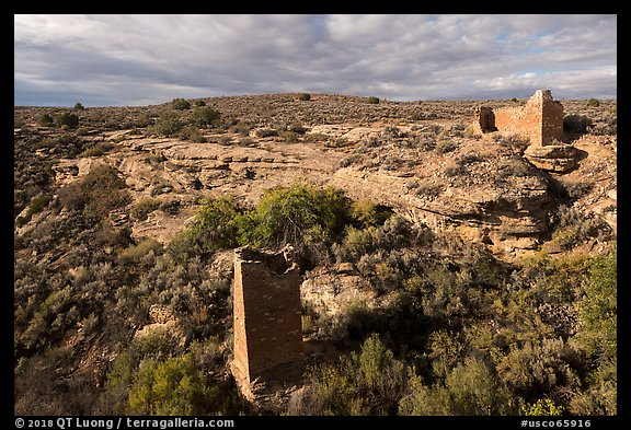 Square Tower and Hovenweep House. Hovenweep National Monument, Colorado, USA (color)