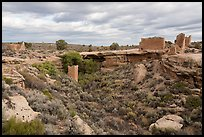 Little Ruin Canyon with Square Tower and Hovenweep House. Hovenweep National Monument, Colorado, USA ( color)