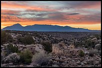 Pueblo and Sleeping Ute Mountain, sunrise. Hovenweep National Monument, Colorado, USA ( color)