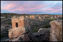 Stronghold House and Little Ruin Canyon, sunrise. Hovenweep National Monument, Colorado, USA ( color)