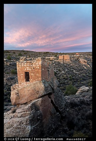 Stronghold House, Twin Towers, Hovenweep House, and Eroded Boulder House, sunrise. Hovenweep National Monument, Colorado, USA (color)