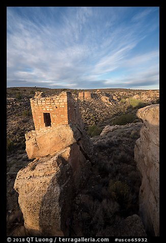 Stronghold House on rim of Little Ruin Canyon. Hovenweep National Monument, Colorado, USA (color)