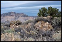 Lower House wall with Mesa Verde in background. Yucca House National Monument, Colorado, USA ( color)