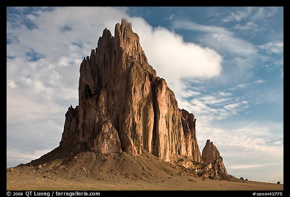 Shiprock with top embraced by cloud. Shiprock, New Mexico, USA (color)