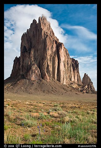 Shiprock, spring morning. Shiprock, New Mexico, USA (color)