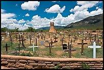 Cemetery and old church. Taos, New Mexico, USA