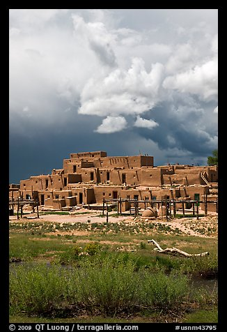 Largest multistoried Pueblo structure. Taos, New Mexico, USA