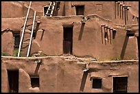 Detail of ancient earthen homes of Native Americans. Taos, New Mexico, USA (color)