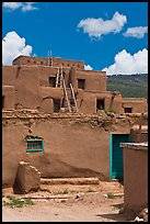 Multi-story adobe house. Taos, New Mexico, USA (color)