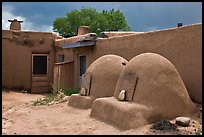 Traditional pueblo ovens. Taos, New Mexico, USA