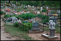 Tombs seen from the back, cemetery. Taos, New Mexico, USA
