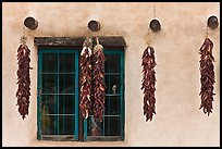 Yellow wall with ristras and blue window. Taos, New Mexico, USA