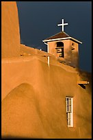 San Francisco de Asisis church under stormy sky. Taos, New Mexico, USA