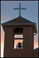 Bell tower at sunset, San Francisco de Asisis church, Rancho de Taos. Taos, New Mexico, USA