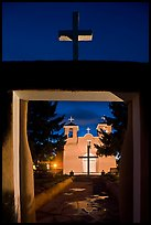 San Francisco de Asisis mission from entrance gate at night, Rancho de Taos. Taos, New Mexico, USA (color)