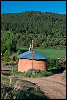 Rural church with adobe walls and tin roof. New Mexico, USA