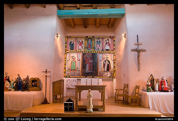 Altar, San Lorenzo Church, Picuris Pueblo. New Mexico, USA