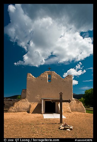 Adobe church and clouds, Picuris Pueblo. New Mexico, USA